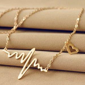 Gold Tone Heartbeat Rhythm Love EKG Necklace